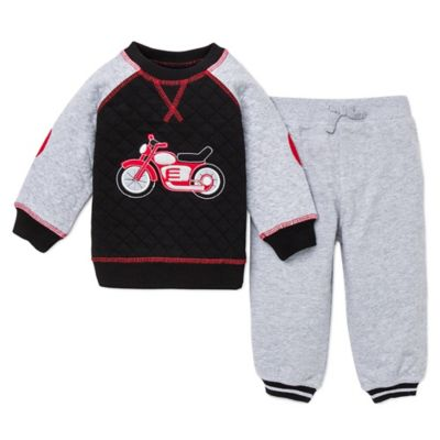 Little Me® Size 12M Motorcycle Top and Pant Set in Grey/Black