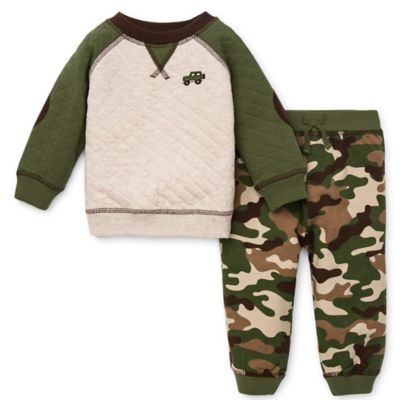 Little Me® Size 3T 2-Piece Shirt and Quilted Pant Set in Green Camo