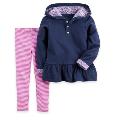 Carter's® Size 6M 2-Piece Hoodie and Legging Set in Navy/Pink
