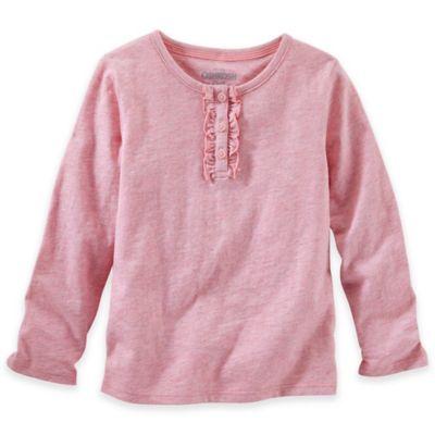 OshKosh B'gosh® Size 2T Long Sleeve Ruffle Placket Shirt in Pink Sparkle