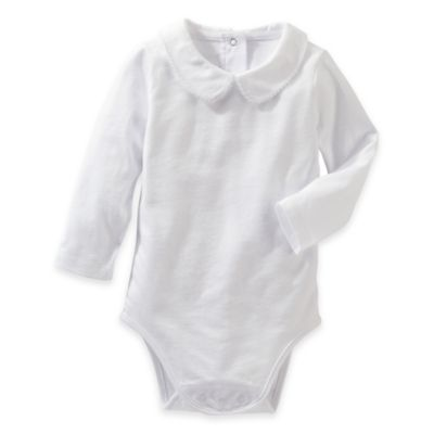 OshKosh B'Gosh® Size 6M Peter Pan Collar Long Sleeve Bodysuit in White
