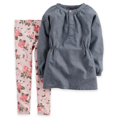 Carter's® Size 2T 2-Piece Long Sleeve Chambray Top and Floral Legging Set