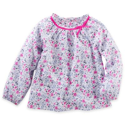 OshKosh B'gosh® Size 2T Floral Poplin Long Sleeve Top with Bow in White/Pink