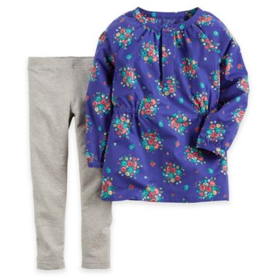 Carter's® Newborn 2-Piece Flowered Long Sleeve Poplin Top and Legging Set in Blue/Grey