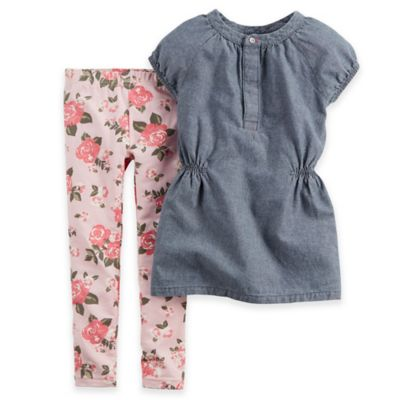 Carter's® Size 3T 2-Piece Cap Sleeve Chambray Top and Floral Legging Set