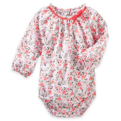 OshKosh B'gosh® Size 9M Flower Print Long Sleeve Bodysuit in Peach/White