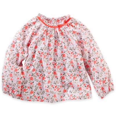 OshKosh B'gosh® Size 3T Floral Poplin Long Sleeve Top with Bow in White/Peach