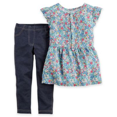 Carter's® Size 12M 2-Piece Floral Flutter Sleeve Top and Denim Pant Set in Blue/Red