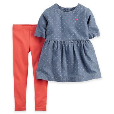 Carter's® Newborn 2-Piece Chambray Dot Peplum Top and Legging Set in Blue/Coral
