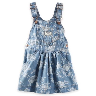 OshKosh B'gosh® Size 6M Denim Flower Print Skortall in Light Blue