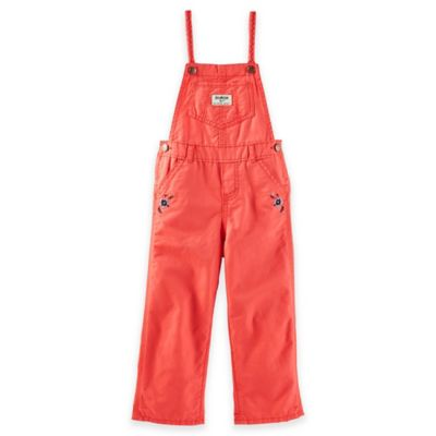 OshKosh B'gosh® Size 3M Flower Embroidery Overalls in Peach