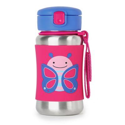 SKIP*HOP® Zoo 12 oz. Stainless Steel Butterfly Straw Bottle