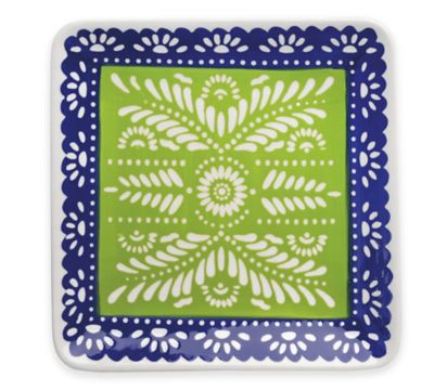 Boston International Viva La Fiesta Square Platter in Green/Blue