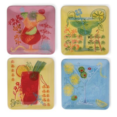 Boston International Fruit Cocktail Square Ceramic Plates (Set of 4)