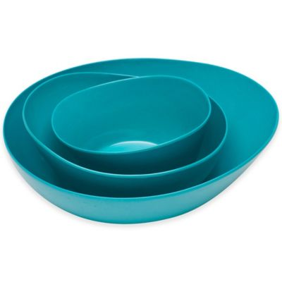 Moso Serving Bowls in Azure (Set of 3)