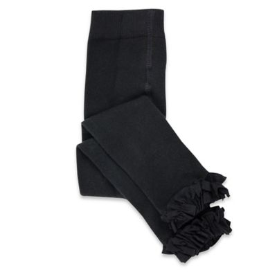 Ruffle Butts™ Size 0-6M Cotton/Spandex Footless Ruffle Tights in Black