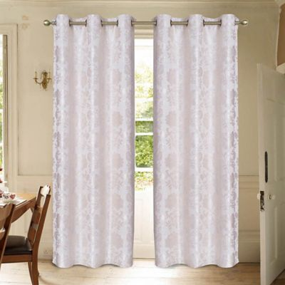Laura Ashley® Renee 84-Inch Window Curtain Panel Pair in Taupe