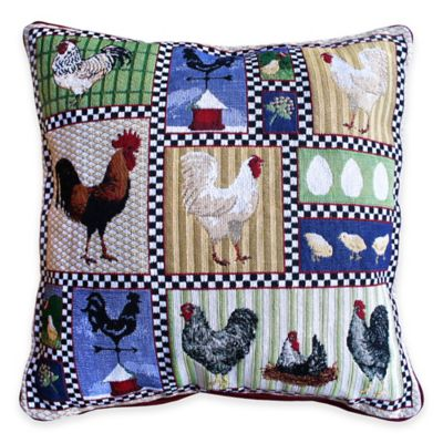 Park B. Smith® Roosters and Chickens Tapestry Square Throw Pillow