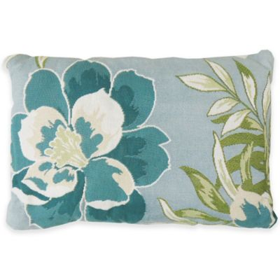 Park B. Smith Coastal Blossom Tapestry Oblong Throw Pillow in Aquamarine