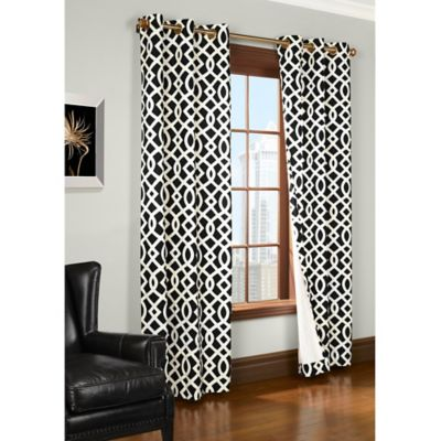 Trellis 63-Inch Room-Darkening Grommet Top Window Curtain Panel in Black
