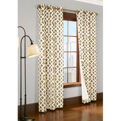 Commonwealth Home Fashions Trellis 72-Inch Room-Darkening Grommet Window Curtain Panels in Khaki