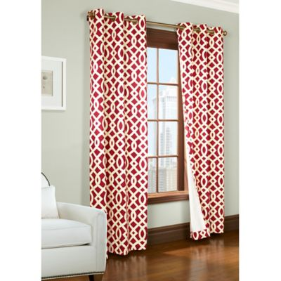 Commonwealth Home Fashions Trellis 95-Inch Room-Darkening Grommet Window Curtain Panels in Red