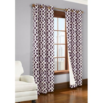 Commonwealth Home Fashions Trellis 95-Inch Room-Darkening Grommet Window Curtain Panels in Aubergine