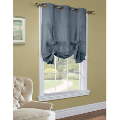 Weathermate 63-Inch Room-Darkening Grommet Top Tie-Up Window Curtain Panel in White