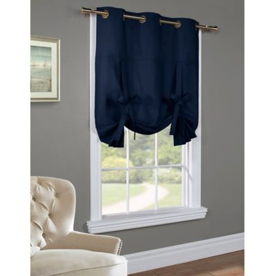 Commonwealth Home Fashions 63-Inch Room-Darkening Grommet Top Tie-Up Window Curtain Panel in Navy