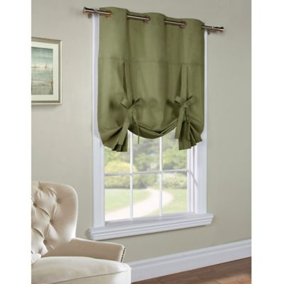 Commonwealth Home Fashions 63-Inch Room-Darkening Grommet Top Tie-Up Window Curtain Panel in Sage