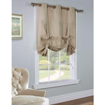 Commonwealth Home Fashions 63-Inch Room-Darkening Grommet Top Tie-Up Window Curtain Panel in Khaki