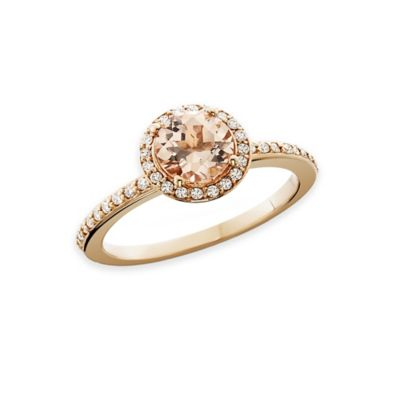 14K Rose Gold .25 cttw Diamond and Round-Cut Morganite Halo Size 8 Ladies' Ring