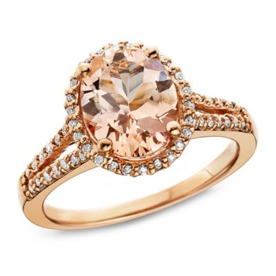 14K Rose Gold .50 cttw Diamond and Oval-Cut Morganite Split-Shank Halo Size 8 Ladies' Ring