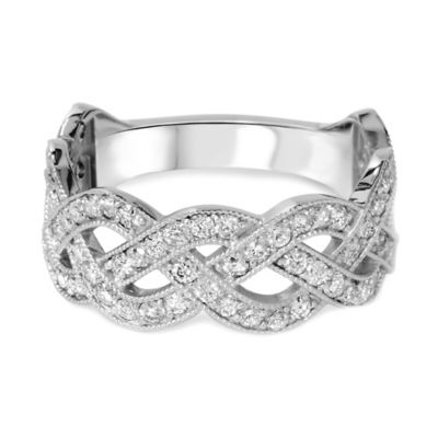14K White Gold 1.0 cttw Diamond Crossover Size 6 Ladies' Ring