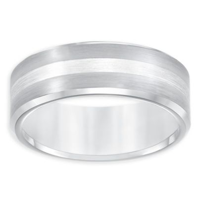Triton® Tungsten Carbide and Sterling Silver Beveled Edge Size 8.5 Comfort-Fit Wedding Band
