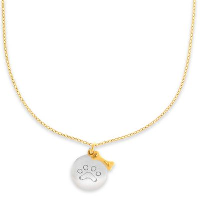14K White and Yellow Gold 17-Inch Chain Paw Print and Dog Bone Pendant Necklace