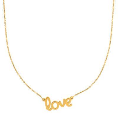 "14K Yellow Gold 18-Inch Chain Script ""Love"" Pendant Necklace"
