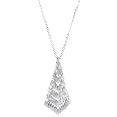 CZ by Kenneth Jay Lane Cubic Zirconia 16-Inch Chain Deco Tapered Fringe Pendant Necklace