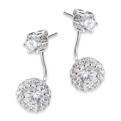 CZ by Kenneth Jay Lane Cubic Zirconia Double Halo Drop Post Earrings
