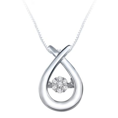 Sterling Silver .09 cttw Diamond 18-Inch Chain Crossover Teardrop Pendant Necklace