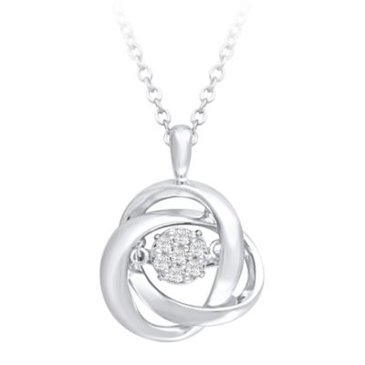 Sterling Silver .09 cttw Diamond 18-Inch Chain Interlocking Circles Pendant Necklace