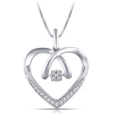 Sterling Silver .12 cttw Diamond 18-Inch Chain Crossover Heart Pendant Necklace