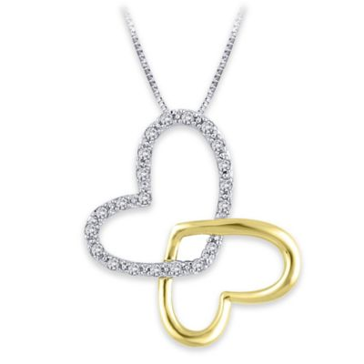Sterling Silver and 18K Gold Plated .09 cttw Diamond Interlocked Hearts Pendant Necklace