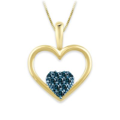 18K Gold Plated .09 cttw Created Blue Diamond 18-Inch Chain Double Heart Pendant Necklace