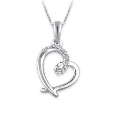 Sterling Silver .04 cttw Diamond 18-Inch Chain Heart Pendant Necklace