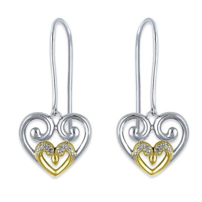 Sterling Silver and 18K Yellow Gold Plated .02 cttw Diamond Swirl Heart Earrings