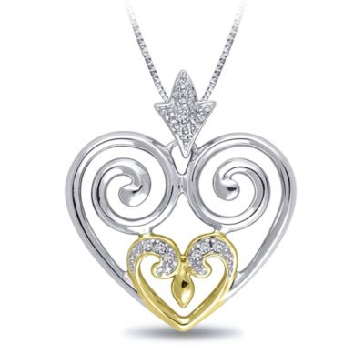 Sterling Silver and 18K Yellow Gold Plated .02 cttw Diamond Swirl Heart Pendant Necklace