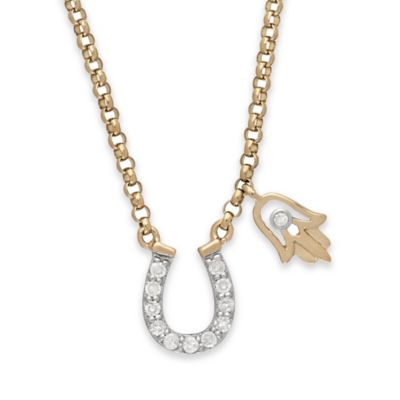 10K Yellow Gold .10 cttw Diamond Accented Horseshoe and Hamsa Pendant Necklace