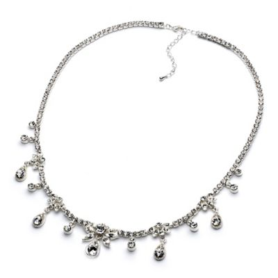Dangling Crystal Headband in Silvertone