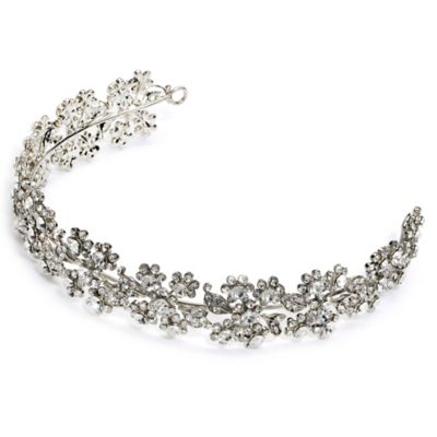 Simone Rhinestone Antique Floral Headband in Silvertone